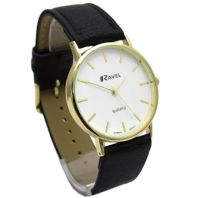 Ravel Mens Classic Quartz Watch Black Band White Face R0129.01.1